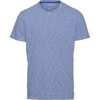 Tee-shirt raye bleu electrique et blanc alder