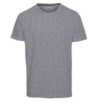 Tee-shirt raye bleu fonce et blanc alder