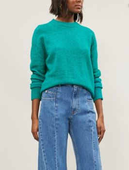 Pull col rond anour vert