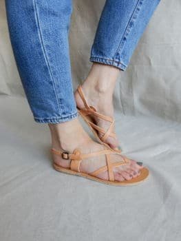 Sandales toe cross strap open natural