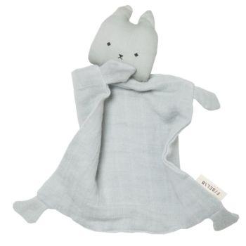 Doudou tete et tissu chat bleu clair