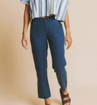 Pantalon dafne bleu en chanvre