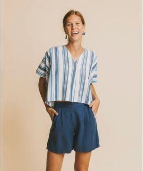 Shorts mamma bleu en chanvre