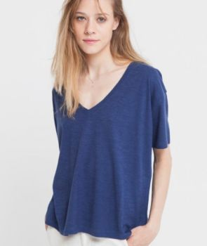 Tee-shirt chloé bleu en chanvre