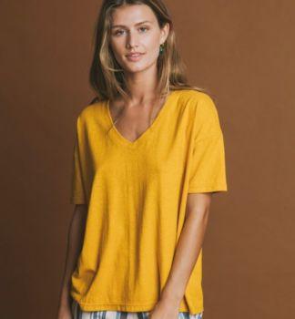 Tee-shirt chloé moutarde en chanvre