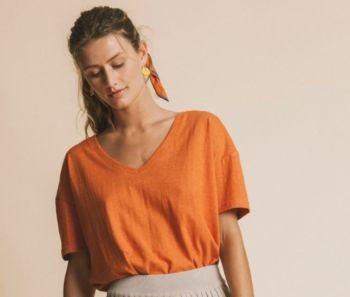 Tee-shirt chloé terracotta en chanvre