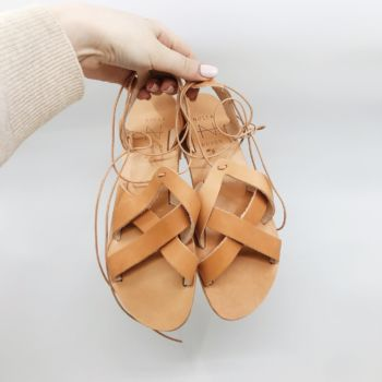 Sandales cross strap open lace natural
