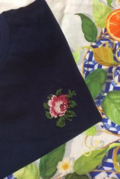 T shirt rose bleu marine