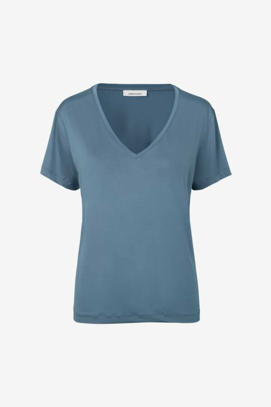 Tee-Shirts Siff En Cupro Col V Bleu Mirage