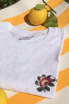 T shirt rose blanc