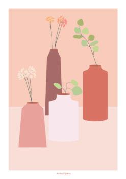 Affiche a4 soliflores atelier figures