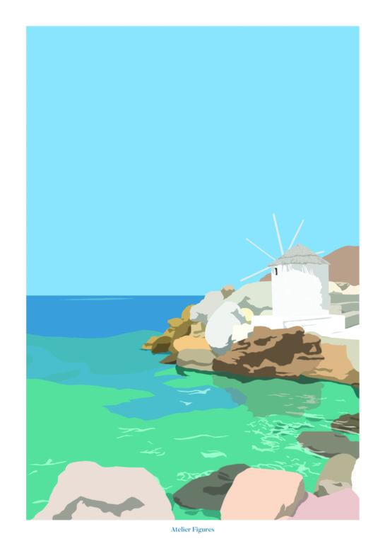 Affiche A3 Plage Grecque