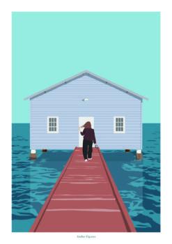 Affiche a4 femme et maison sur pilotis