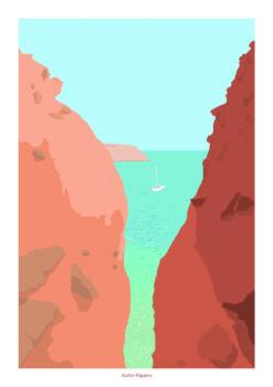 Affiche a4 bateau calanque