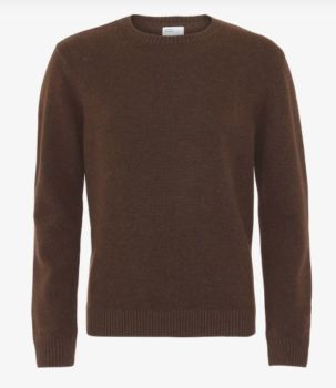 Pull col rond en laine mérinos coffee brown
