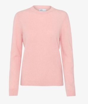 Pull col rond en laine mérinos faded pink
