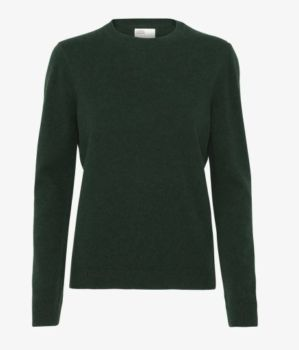 Pull col rond en laine mérinos hunter green taille l