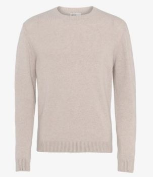Pull col rond en laine mérinos ivory white