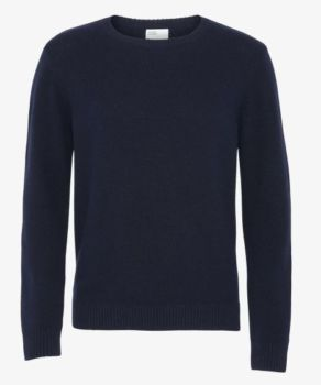 Pull col rond en laine mérinos navy blue